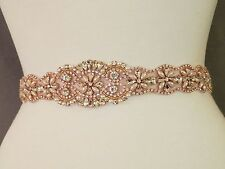 "Wedding Dress Sash Belt - Rose Gold Crystal Pearl Sash Belt = 19"" long"