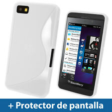 Blanco Funda TPU Gel para BlackBerry Z10 Smartphone Case Carcasa