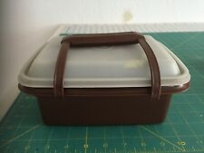 Vintage Tupperware Brown & Almond Pack Carry Lunch Box Set 3 Piece