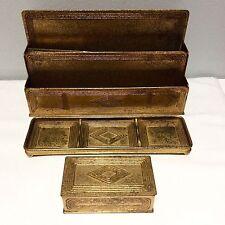 TIFFANY STUDIOS NY Graduate Bronze Desk Set Mail Holder, Pen Tray,Stamp Box