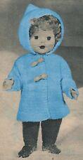 "VINTAGE KNITTING PATTERN 16"" DOLLS CLOTHES DUFFLE COAT & LEGGINGS Double Knit"