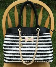 Betsey Johnson Be My Bow Quilted Handbag Shopper Large Purse BJ43940P New Stripe