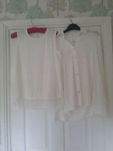 WynneLayers Butterfly Shirt with Chiffon Hem Tank. Cloud. Size XS RRP £95
