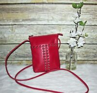 iLi Studded Red Genuine Leather Purse Shoulder Bag Crossbody