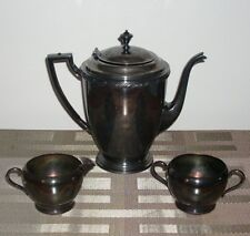 ACANTHUS EPNS SILVER PLATE 3 PC TEA SET PITCHER TEAPOT COFFEE POT CREAMER SUGAR