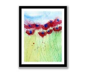 Poppies in field - watercolour abstract painting unique gift (Print) ID : 020