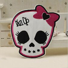 Embroidered Sew Iron on Patch Badge Pink Bow Crossbones Skull Motif Bag Applique