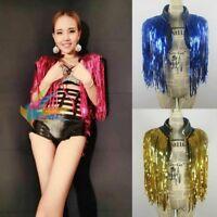 Lady Sequin Tassel Waistcoat Glitter Costume Dance Tank Tops Vests Clubwear Sexy