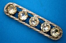 AT413*) Vintage Art Deco cut Glass paste rhinestone silver tone bar brooch pin