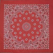 "New 22"" Burgundy Paisley Bandana Handkerchief Scarf 100% Cotton Made In USA"