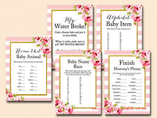 Print Yourself Pink Floral Chic Baby Shower Game Pack Printable tlc50