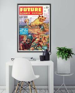 "1957 Vintage Sci-Fi POSTER! (24"" x 36"") - Science Fiction - Space - Cats - Dec"
