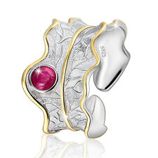 Ajustable Gema Oro Finger Hand Leaf Silver Adjustable Ring Gold Gem Anillo Plata