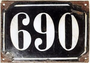 Large old black French house number 690 door gate plate plaque enamel metal sign