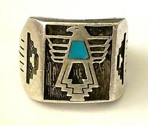 Carolyn Pollack Southwestern Ornate Men's Ring Sterling Eagle Inlay Shank Repair