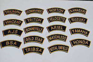 Traditional Motorcycle Shoulder Patches -Sew On -Rockers -Ton Up Boys - 30 Types