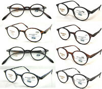 337 Plain/Matte Classic Retro Vintage Style Round Reading Glasses/Spring HInges