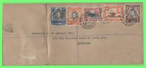 K.U.T. 1938 KGVI 1c,10c,15c,20c,&30c on registered cover (First Day) pmk SCARCE