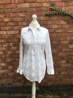 Crew Clothing White Shirt Size 10 Flower Print Collared Shirt Long Sleeve B11