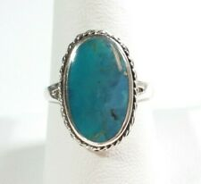 925 STERLING SILVER SOUTHWEST STYLE BRAIDED OVAL TURQUOISE SIZE 9 RING