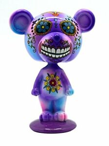 Purple Day of the Dead Bear Bobblehead