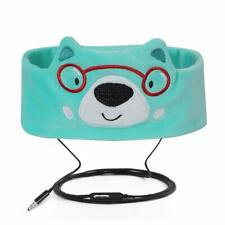 FYY Wired Headphones Headband Thin Speakers Easy Adjustable Soft Fleece Bear New