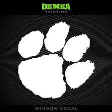 "Clemson - Tigers - Paw - NCAA - White Vinyl Sticker Decal 5"""