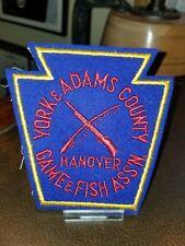 Vintage Felt Sportsman Club Patch 1940-50 York Adam's County Hanover Game & Fish