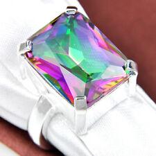 Gorgeous Shiny Square Rainbow Fire Mystical Topaz Gemstone Silver Ring Size 8