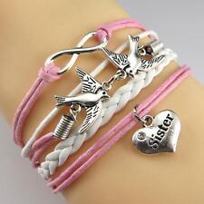 1pc Handmade Leather Silver Infinity Birds Heart Letter Sister Charms Bracelet