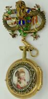 Rare Verge Fusee PINCHBECK gold,enamel&Diamonds Watch,Romilly for Chinese market