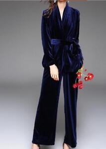 Chic Women Loose Suit Belt Slim Fit Coat Velvet Party Prom 2Pcs Top Pants V-Neck