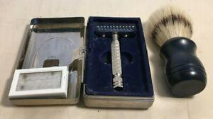 Vintage Merkur Razor with Blades and Brush