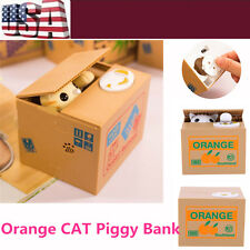 New Itazura Kitten Cat Steal Money Coin Saving Box Piggy Bank Kids Gift Funny
