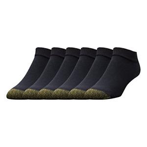 Gold Toe Men's 6-Pack Cotton Low Cut Sport Liner Socks, Black, 10-13 Shoe: