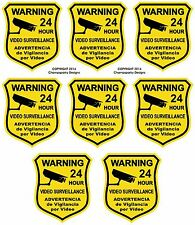 8  Warning Home Defense Security Decal Sign Stickers Video Surveillance Spanish