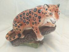Vintage German Hand Painted Ceramic Leopard Felis Pardus