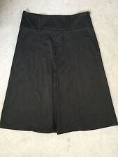 JACOB BLACK COTTON RICH SKIRT IN A-LINE SHAPE WITH FRONT PLEAT- 4