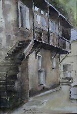 BARATTE (XX) Vic-sur-Cère aquarelle Cantal Auvergne Massif Central Vic Auvergne