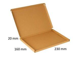 20 Stk Großbrief-Klappdeckelkarton 230x160x20mm E-Welle, einwellig, [ braun ]