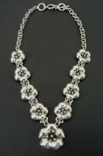 Flower Links Dimensional Sterling 925 Silver CII Mexico Toggle Clasp Necklace
