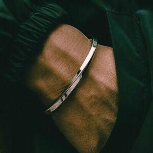 Fashion Silver Men Stainless Steel Twisted C Bangle Wrist Bracelet Cuff Bangle