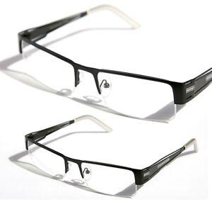 Rectangular Half Rimless Metal Sun-Glasses Optical RX Eyeglasses Clear Lens1230