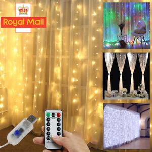 3x3M 300LED Curtain Fairy String Light Garden Chrismas Party Twinkle Lights NEW