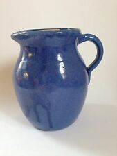Hand turned Vintage Pottery Pitcher Blue W Lid Unmarked