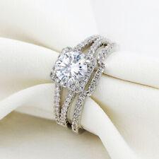 925 Sterling Silver Round Cz Sz 10 Newshe Wedding Engagement Ring Set Women 2Ct