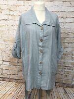 Moonshine Fashion Leinen Long Bluse Lagenlook Übergröße Tunika Gr 44 46 48 Neu
