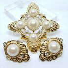 Kenneth Jay Lane for Avon Art Nouveau Revival Faux Pearl Brooch & Earrings Set