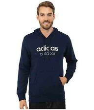 NEW ADIDAS MEN'S OUTDOOR CASUAL PULLOVER HOODIES SWEATSHIRT NAVY BLUE SZ/ LARGE