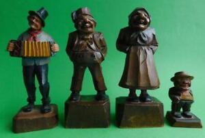 4x Vintage hand Carved ANRI Swiss Folk Art Wood Carving Figures